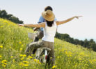 couple on bicycle in nature