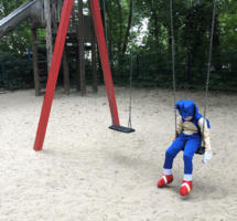 Littel boy, alone, playground