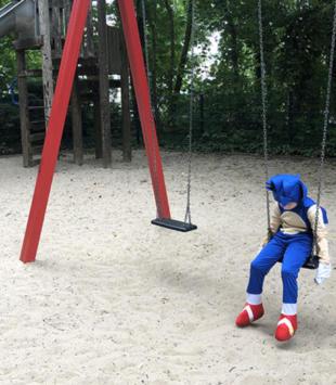 Littel boy, alone, playground