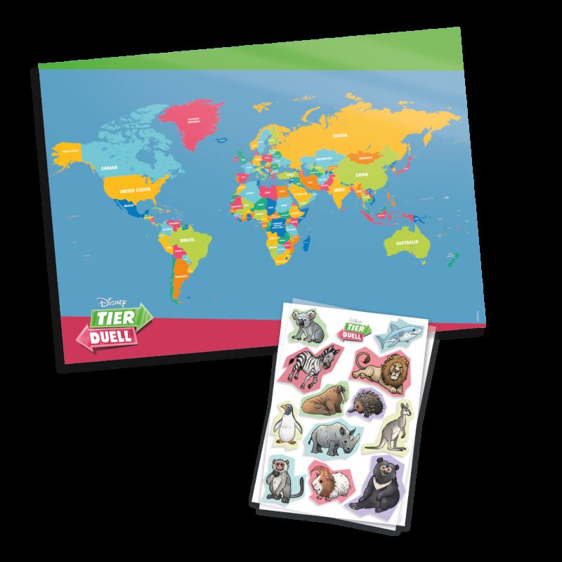 Tierduell Weltkarte mit Stickern