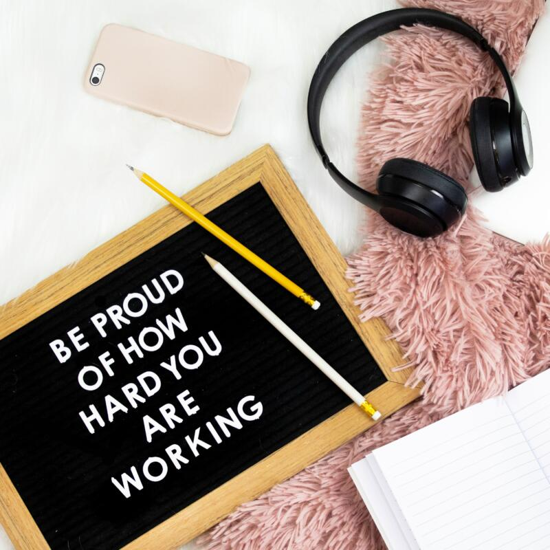 Positive quote on blackbord