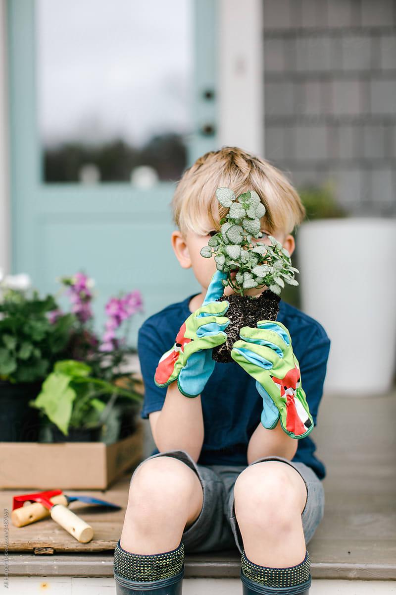 Kleiner Junge mit Pflanze
